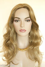 Light golden reddish brown Frost Blonde Long Monofilament Wavy Straight Wigs