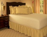 "14"" INCH DROP SOLID EASY FIT SET UP PLEATED ALL CORNERS 1 PC BED SKIRT GOLD"