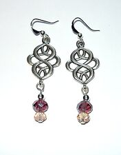 Beautiful delicate celtic knot earrings with purple and pink drops