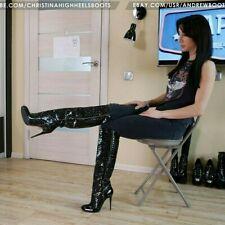 GIANMARCO LORENZI EU37 US7 round toe high heels black patent leather knee boots