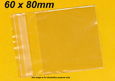 100 Clear Plastic Bags Resealable, Packaging 60 x 80mm, Cello Reseal