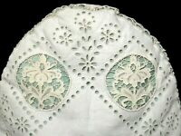 Antique Linen Teapot Cozy, Fancy Needle Lace & Eyelet Embroidery Both Sides FINE