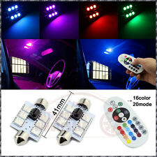"2 × RGB LED Remote Festoon 16Colors 41mm 42MM 1.72""  Map/Dome Light Bulbs"