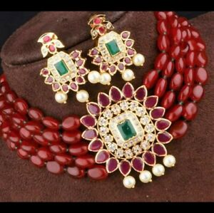 Bollywood Indian Kundan Choker Necklace Gold Tone Bridal CZ Fashion Jewelry Set