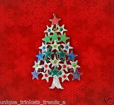 VINTAGE STYLE CHRISTMAS STAR TREE MULTICOLOR RHINESTONE & ENAMEL GIFT PIN BROOCH