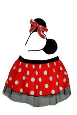 Mini Santa Skirt Polka Dot Minnie Tutu with Head Band Fancy Dress & Mouse Ears