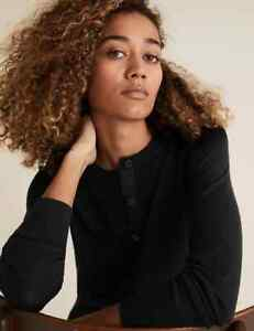 EX M&S Ladies Pure Merino Wool Cardigan BLACK FB20 NEW