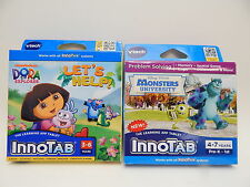InnoTab Monsters University  Dora The Explorer 3-7yrs Pre-K BRAND NEW Cartridges