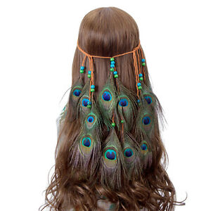 Indian Women's Gypsy Hippie Hair Rope Carnival Peacock Feather Headband Costume
