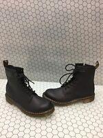 Dr. Martens DELANEY Black Leather Lace Up/Side Zip Boots Men's Size 5  Women's 6