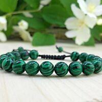 Bracelet tressé Perles Naturelles  Agate Paon  - Homme Femme Lithothérapie