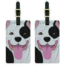 Pit Bull Black White - American Staffordshire Terrier Dog Pet Luggage Tags Set