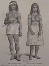 Haida Indian Tattooed Man & Women 1886 Original Print #2