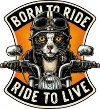 BORN TO RIDE Cat Biker Motorcycle Vinyl Printed Decal Stickers