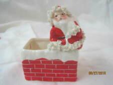 Japan Napco ceramic Christmas Santa on Chimney Planter Spaghetti trim S926 #3