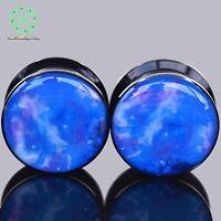 Pair Acrylic Ear Stretching Ear Tunnel Plug Gauge Expander Epoxy Purple Cosmic