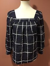 J Crew Plaid Blouse Navy White Top Size 4