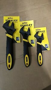 Set of 3 Heavy Duty Stanley Adjustable Wrench 200mm, 250mm, 300mm