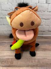 "Disney Lion King Pumba Plush Stuffed Animal Warthog With Bugs 13"""