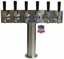 Stainless Steel Draft Beer Tower Made in USA - 6 Faucets - Air Cooled - TT6CR-