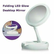 10X Magnification Makeup Mirror Vanity LED Light Rotation Cosmetic Tabletop