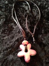 Necklace Pink Daisy On Black Leather Cord Gifts Beach Summer