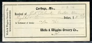 US WELLS & WIGGINS GROCERY CO RECIPT FROM CARTHAGE, MISSOURI 12/5/1906 AS SHOWN