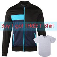 Beautiful Giant Men's Full Zip Raglan Sports Active Track Jacket Black Blue Gift