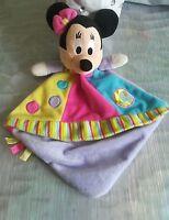 Doudou plat Minnie Disney Nicotoy rond pois violet jaune rose bleu noeud NEUF