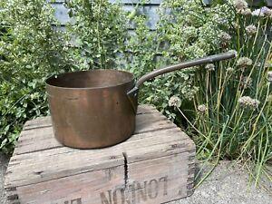 Antique Old Large Heavy Copper Saucepan Pan Vintage Cookware