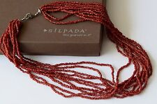 Silpada 10-Strand Hand Beaded Coral Necklace w/ Barrell Clasp N0875