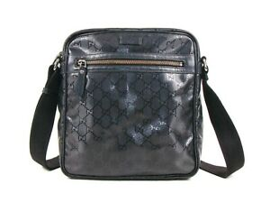 Authentic Shiny GG Plus Black Canvas Cross Body Messenger Bag