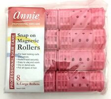 """BRAND NEW ANNIE #1221 PINK 8ct X-LARGE SNAP ON MAGNETIC ROLLERS 1 1/8"""" DIAMETER"""