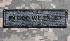 IN GOD WE TRUST ARMY MORALE STRAIGHT TAB ACU DARK VELCRO® BRAND FASTENER PATCH