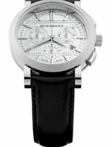 Burberry Men's BU1361 Black/Silver Stainless Steel Watch Leather Strap