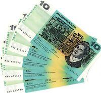 1991Australian 5 Run $10 Notes Fraser/Cole Rare last PREFIX MRR 655576 TO 655580