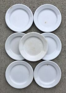 """Amazing set of 7 Alfred Meakin White Ironstone 4.5"""" Cup Plates Butter Pats Rare!"""