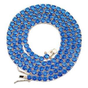Solitaire 4MM Tennis Chain Necklace Silver Finish Blue Lab Diamonds 18-24''