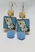 CG3636.- CAT EARRINGS WITH POMPOM - FREE UK P&P
