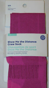 New Women's Show Me The Distance Crew Socks - Seawheeze - Sonic Pink - Size S/M