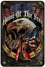 Home of the Free Because Brave Patriotic Military Metal Wall Art Parking Sign