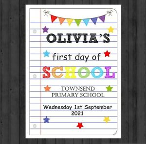 PERSONALISED SCHOOL PRINT BACK TO SCHOOL PRINT FIRST DAY OF SCHOOL PHOTO PROP