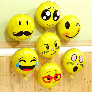 18 Inch Funky Emoji Faces Balloons Foil Party Decor Balloons