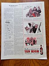 1939 Hiram Walker Whiskey Ad Ten High Oh Boy Did we Have Fun in the Rain