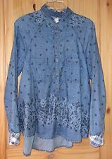 Free People Floral Patterned Light Denim Long Sleeve Shirt, Womens M
