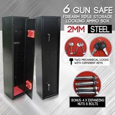 6 Gun Safe Safety Firearm Lockable Rifle Storage Lockbox 2mm Steel Cabinet