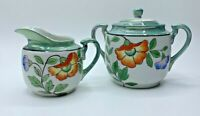 Vintage Made In Japan Green & White LustreWare LusterWare Cream And Sugar Set