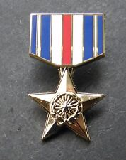 SILVER STAR COMBAT VETERAN VALOR MINI MEDAL LAPEL PIN BADGE 1.1 INCHES