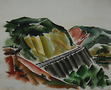 "Coreen Spellman Texas Centennial Artist ""Train Tracks"" c.1933 Large Watercolor"