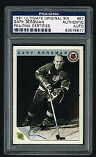 Gary Bergman (d. 2000) 1991 Ultimate Original Six signed autograph Card PSA Slab